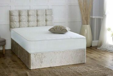 CHEAPEST EVER!! BRAND NEW DOUBLE/KING SIZE DIVAN CRUSH VELVET BED BASE & MATTRESS OPTIONS