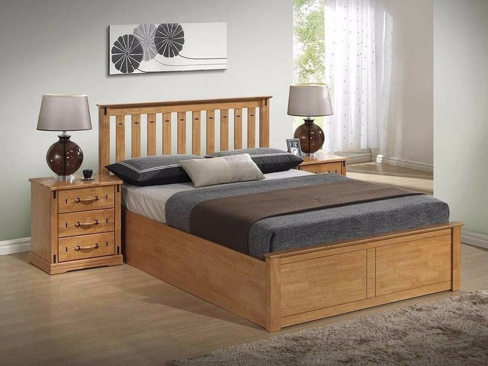 Best Offer!! WOW Brand New White & Oak Finish Wooden Ottoman Storage Bed in Double and King Size