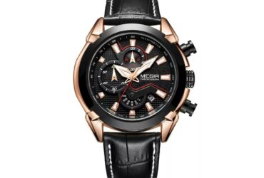 MEGIR 2065 Sport Watches Chronograph Quartz Leather Strap Men Watch
