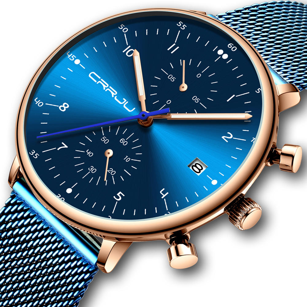 Men Quartz Watch-Chronograph Luminous Display Calendar