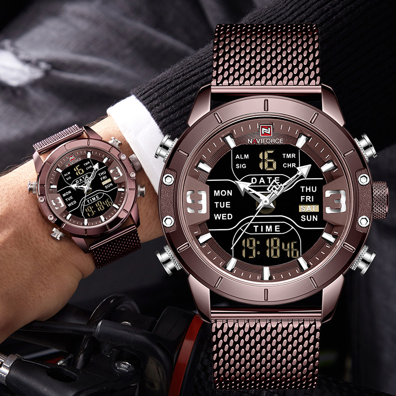 Waterproof Dual Display Men Watch