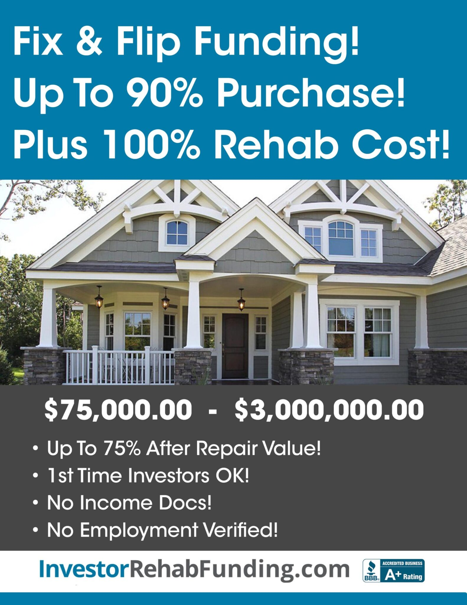 90% PURCHASE & 100% REHAB – INVESTOR FIX & FLIP FUNDINGUp To $2,000,000.00 – No Income Docs!