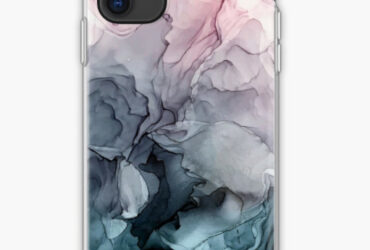 Blush and Payne&  Grey Flowing Abstract Painting iPhone Case & Cover
