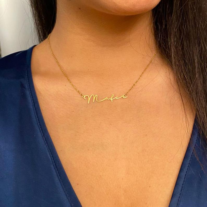 Custom Name Necklace-Personalized Name Necklace-Gold Necklace-Namenskette Necklace-Minimalist Necklace-Signature Necklace-Gift to Mom, Women