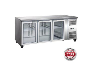 GN3100TNG 3 Glass Door Gastronome Bench Fridge