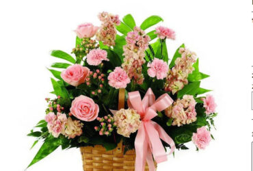 Peach and Pink Sympathy Basket Arrangement.