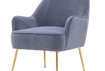 Modern Simple Fashion Velvet Chair with Gold Metal Legs (Grey)