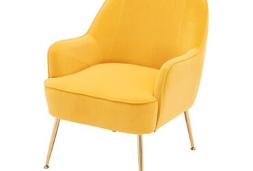 Modern Simple Fashion Velvet Chair with Gold Metal Legs (Yellow)