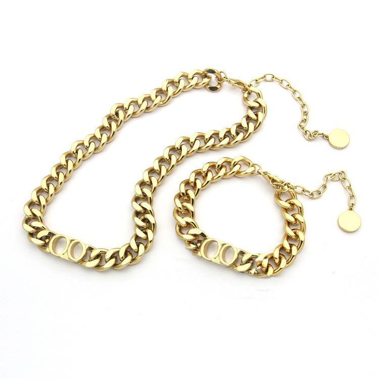 Fashion stainless steel letter 14k gold cuban link chain necklace bracelet