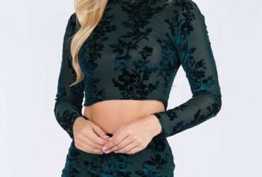 Hello My Love Blue Velvet Skirt Set