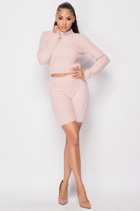 Come Over Here Baby Stripe Sweater & Shorts Set – Blush