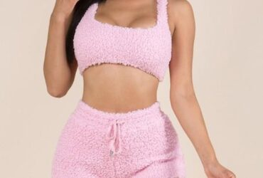 Comfy Cutie Pink Fluffy Fur Top & Short Set