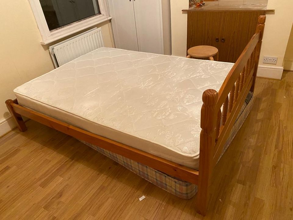 Double Solid Pine bed and mattress