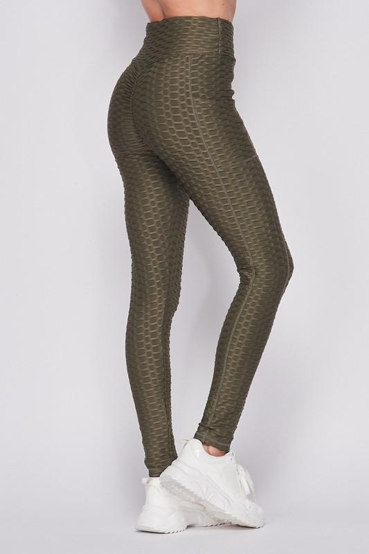 What's Poppin & Babe Olive Bubble Leggings w/ Pockets