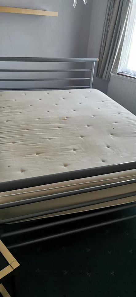 Solid Double metal bed frame with mattress