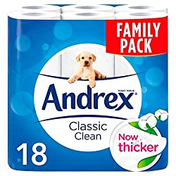 Andrex Classic Clean Toilet Tissue Rolls 18 pack