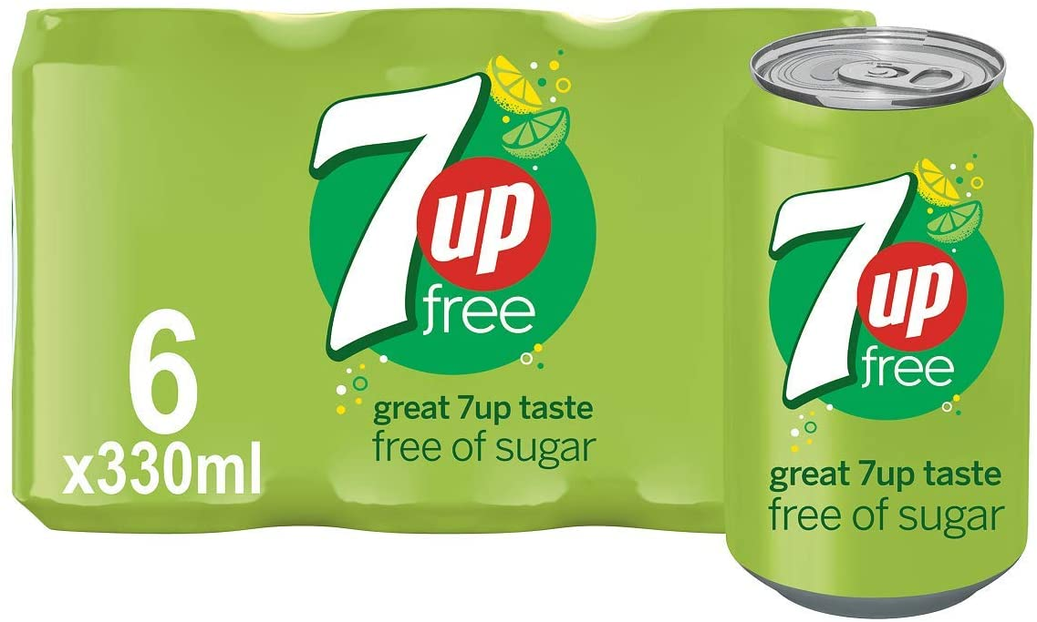 7UP Free – Lemon & Lime Flavoured Fizzy Drink – Sugar-Free – 6 x 330 ml cans