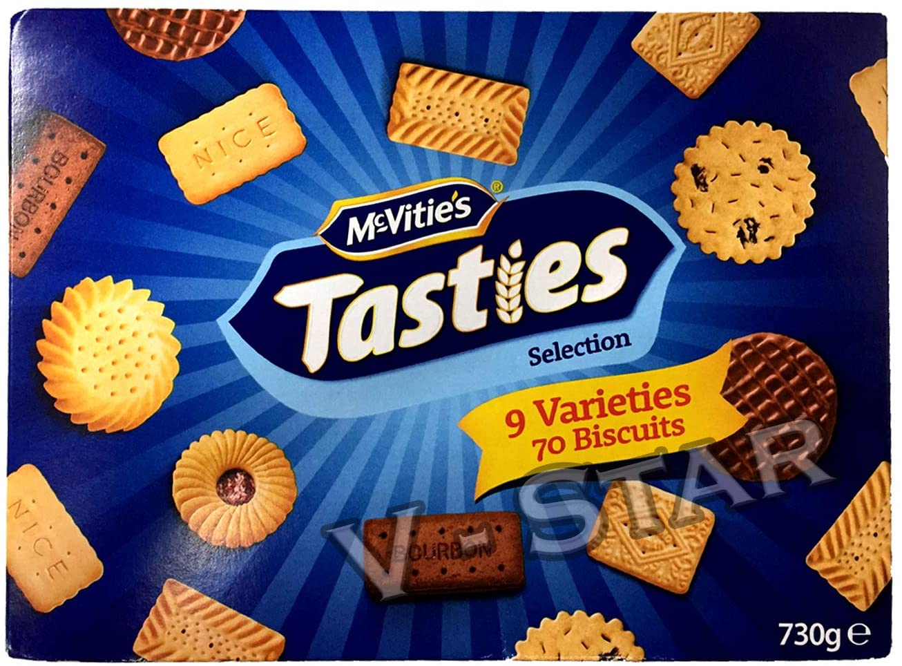 MCVITIE'S TASTIES Selection 730g – 9 Varieties 70 Biscuits Box