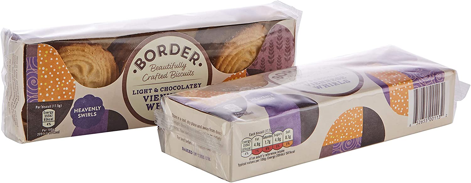 Border Biscuits Light & Chocolately Viennese Whirls 150g – Single Unit
