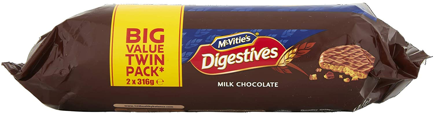 McVitie's Milk Chocolate Digestive Biscuits Twin Pack, 2 x 316g