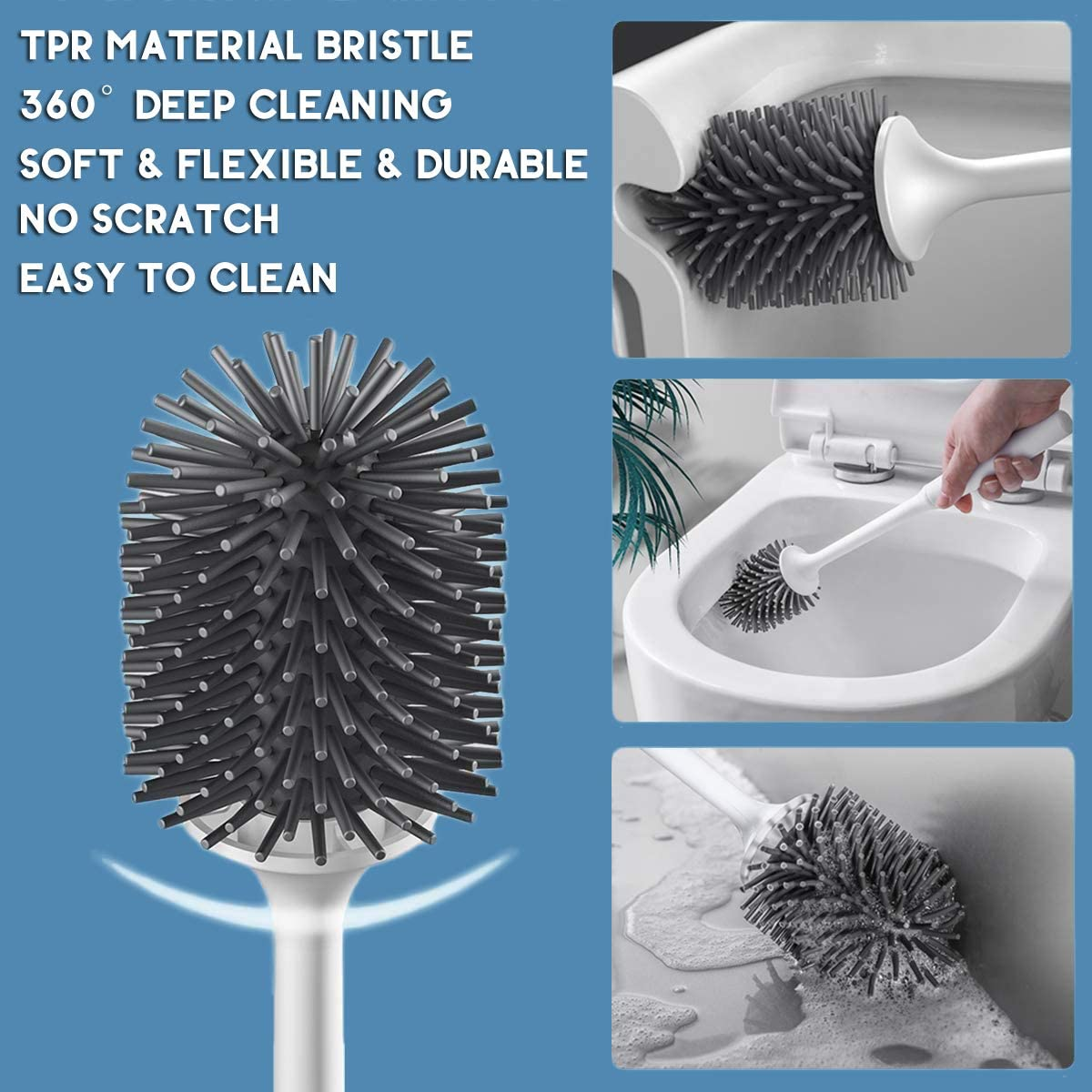 AEROFRESH Toilet brush and holder set, TPR Silicone toilet cleaner brush