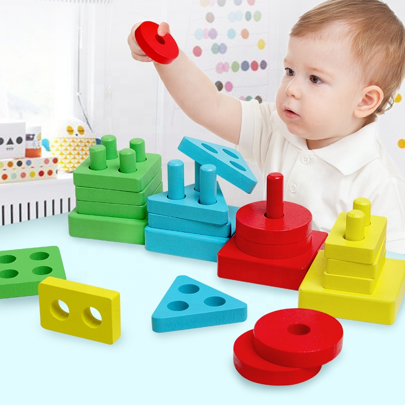 Wooden geometric shape four sets of columns matching building blocks