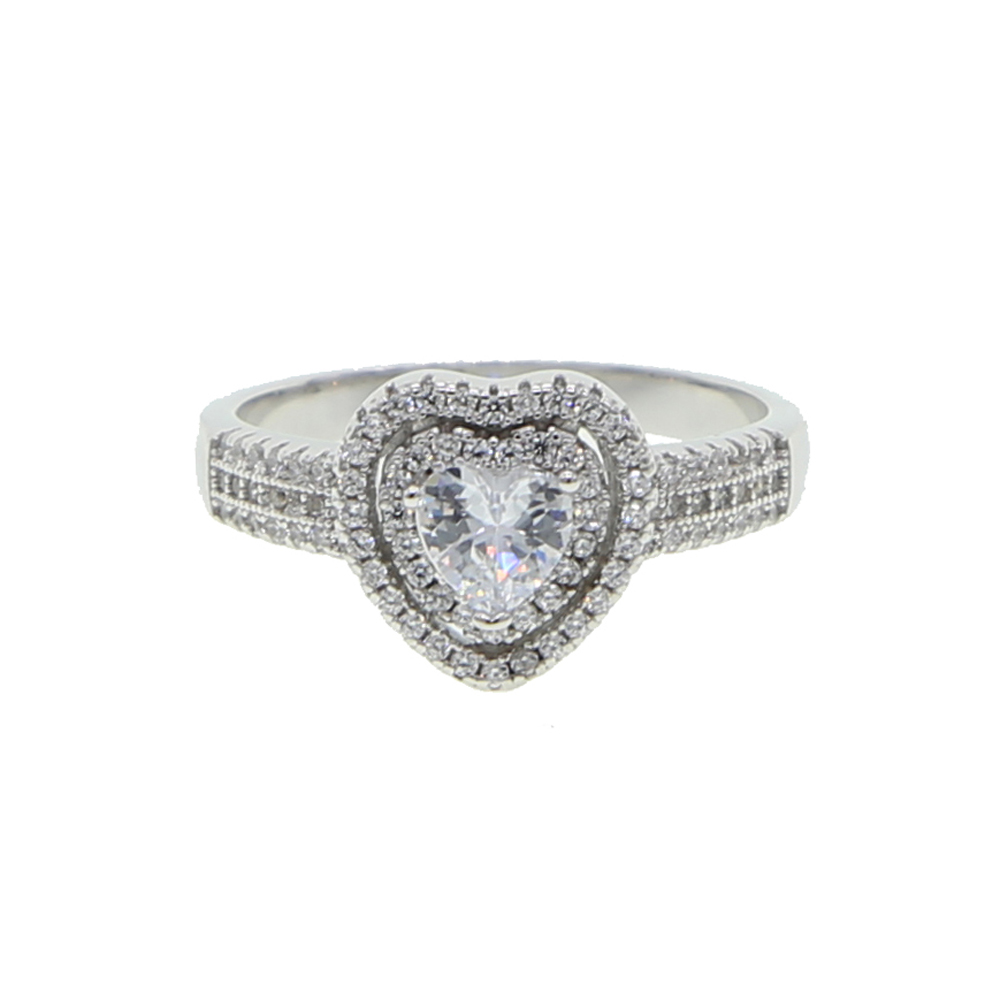 Princess Wedding Ring Sterling Silver 925 big heart diamond ring for sale