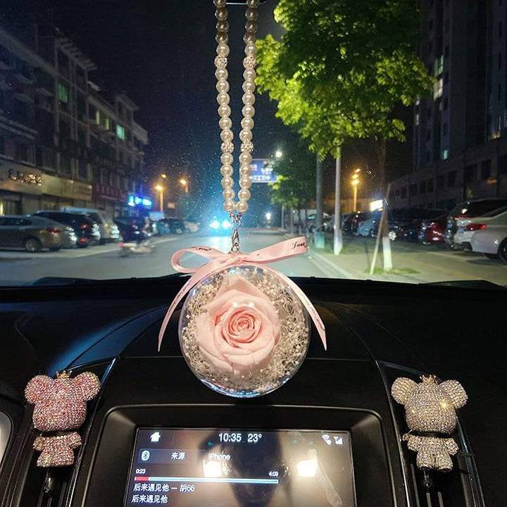 Acrylic ball rose flowers car hanging keychain