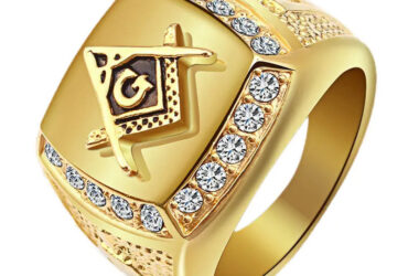 Free-Mason Gold Titanium Steel Finger Ring