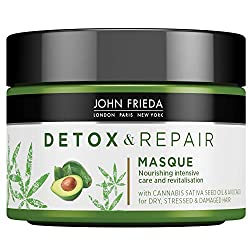 John Frieda Detox & Repair Masque Hair Mask 250ml for Dry, Stressed & Damaged Hair with Cannabis Sativa