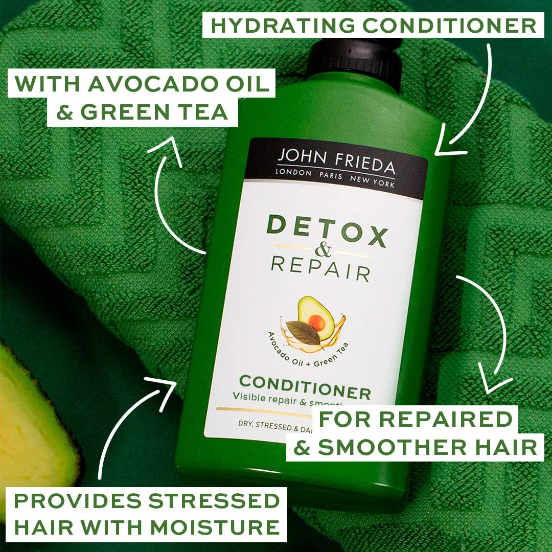 John Frieda Detox & Repair Conditioner for Dry, STRESSED & Damaged Hair with Avocado Oil and Green Tea, 250 ml