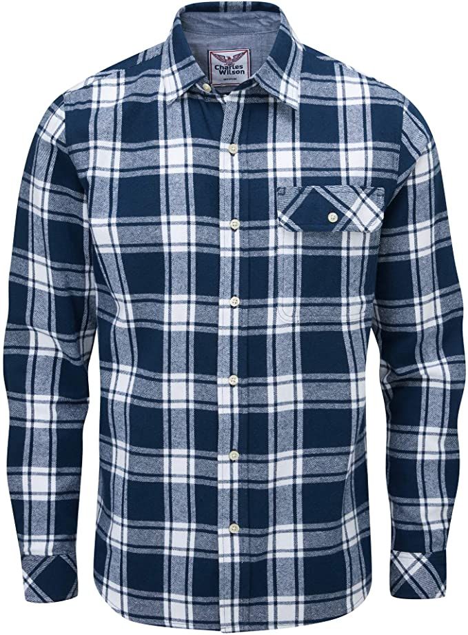 Charles Wilson Men's Long Sleeve Checked Flannel Shirt