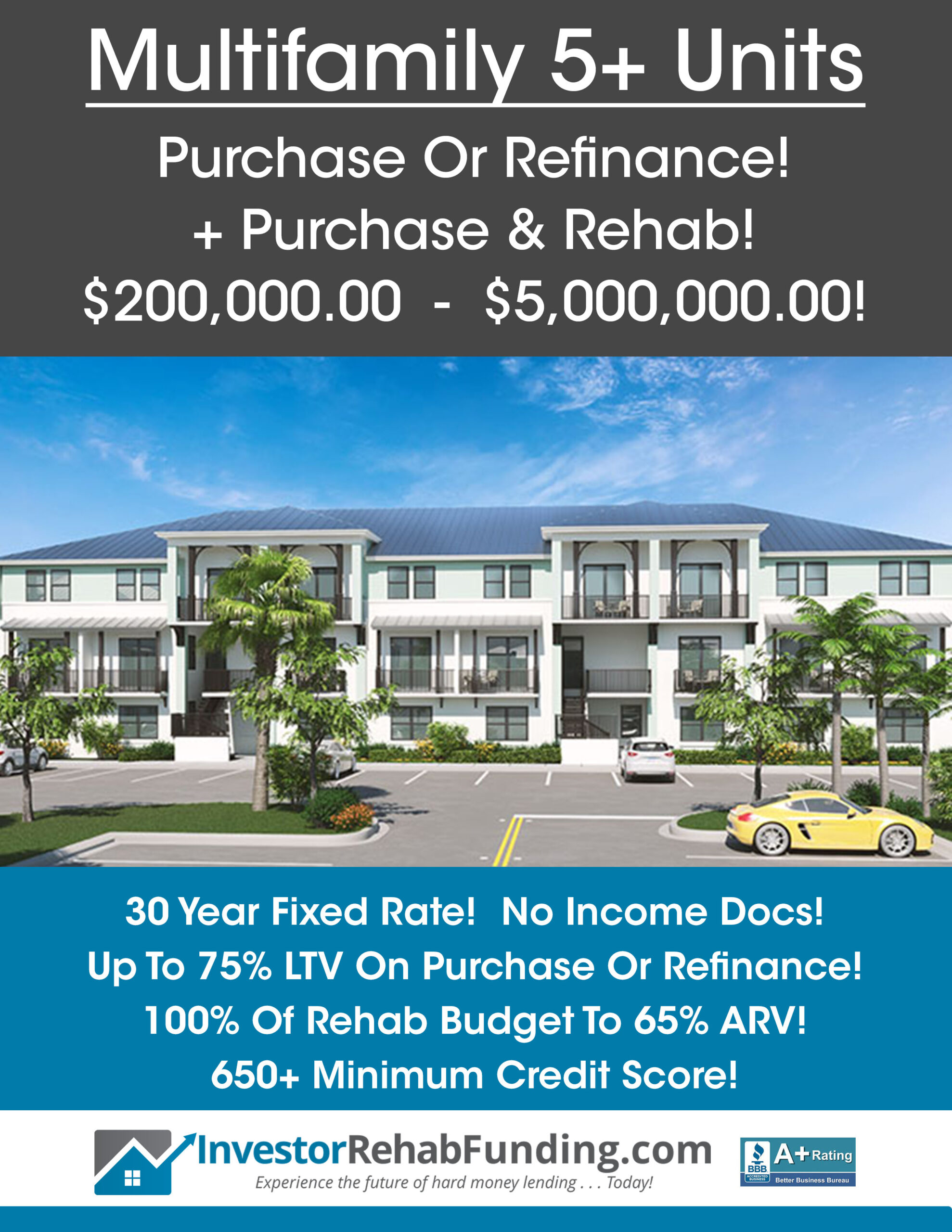 MULTIFAMILY 5+ UNITS – Purchase – Refinance – Purchase & Rehab To $5 Million!