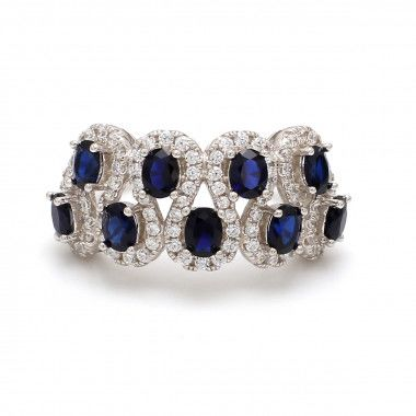 Sale ! Buy Blue Sapphire Silver Ring Online in India Ornate Jewels