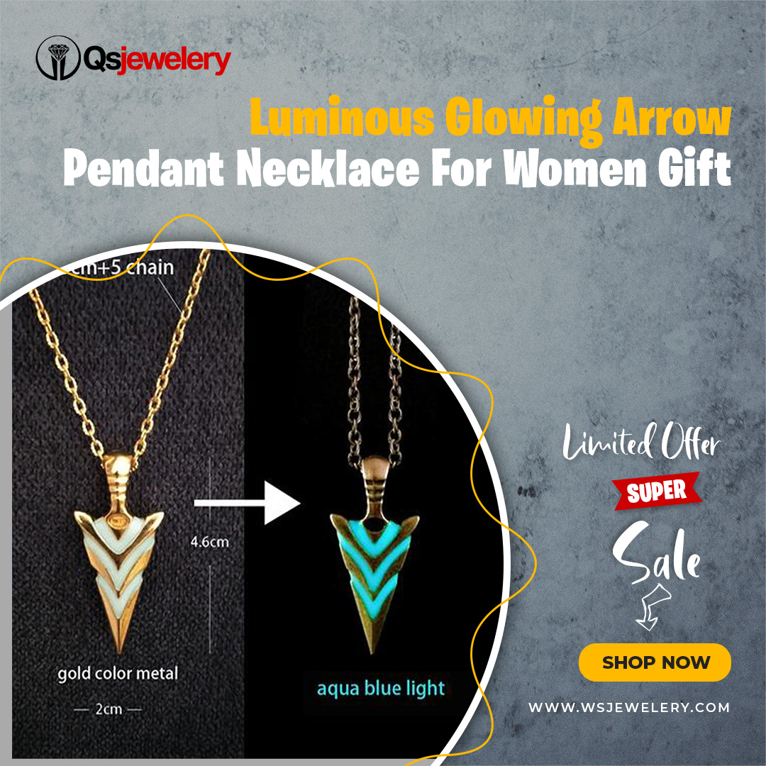 LUMINOUS GLOWING ARROW PENDANT NECKLACE FOR WOMEN MEN HALLOWEEN GIFT