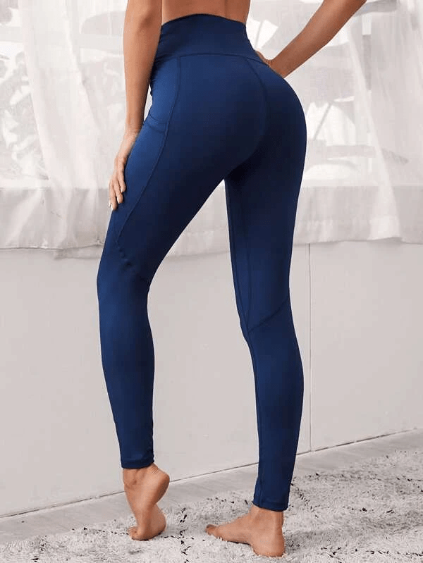 Solid Wide Band Waist Sports Leggings With Phone Pocket