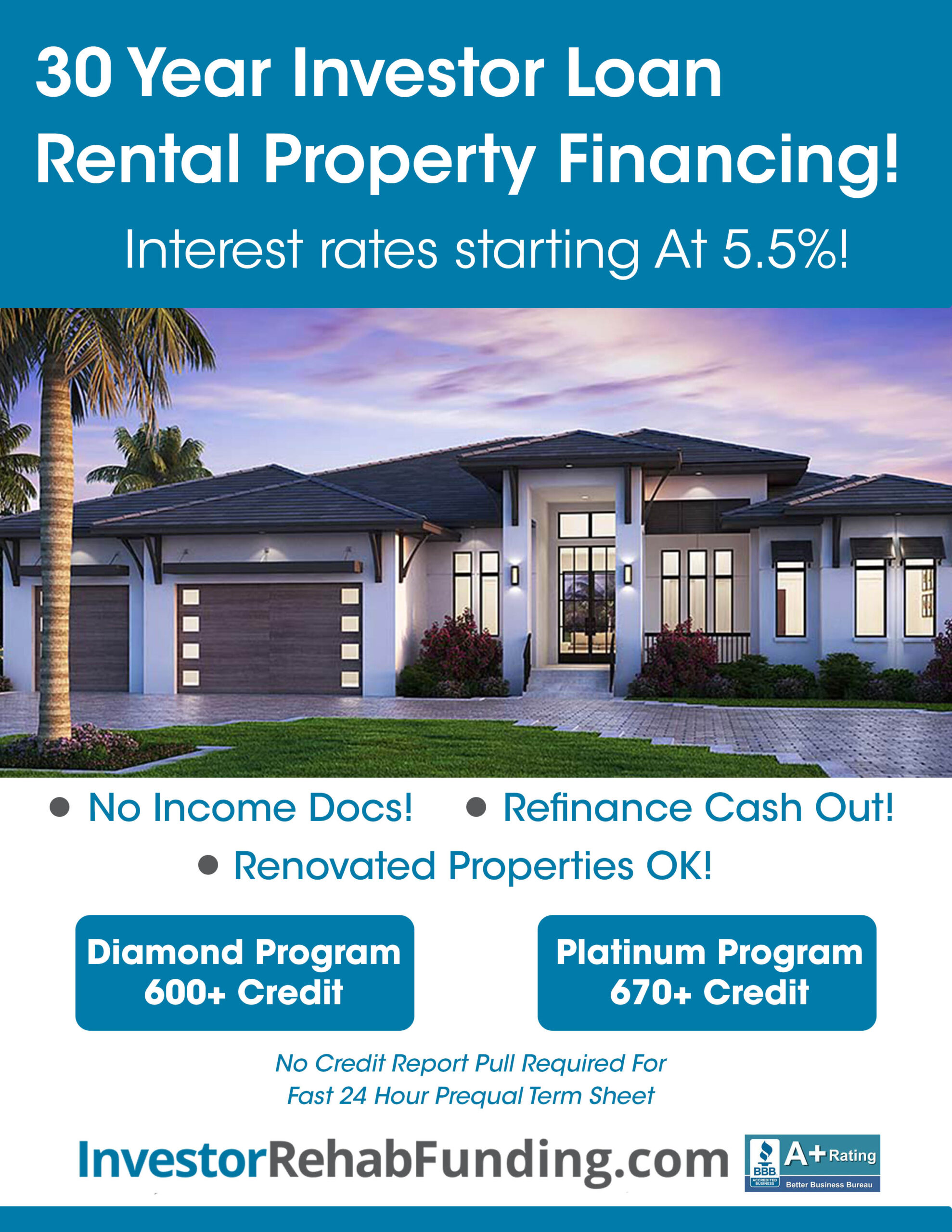 600+ Credit – 30 Year Rental Property Financing–Refinance Cash Out Up To $5,000,000!