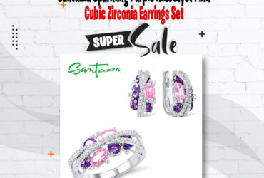 SPARKLING PURPLE AMETHYST PINK CUBIC ZIRCONIA EARRINGS RING SET