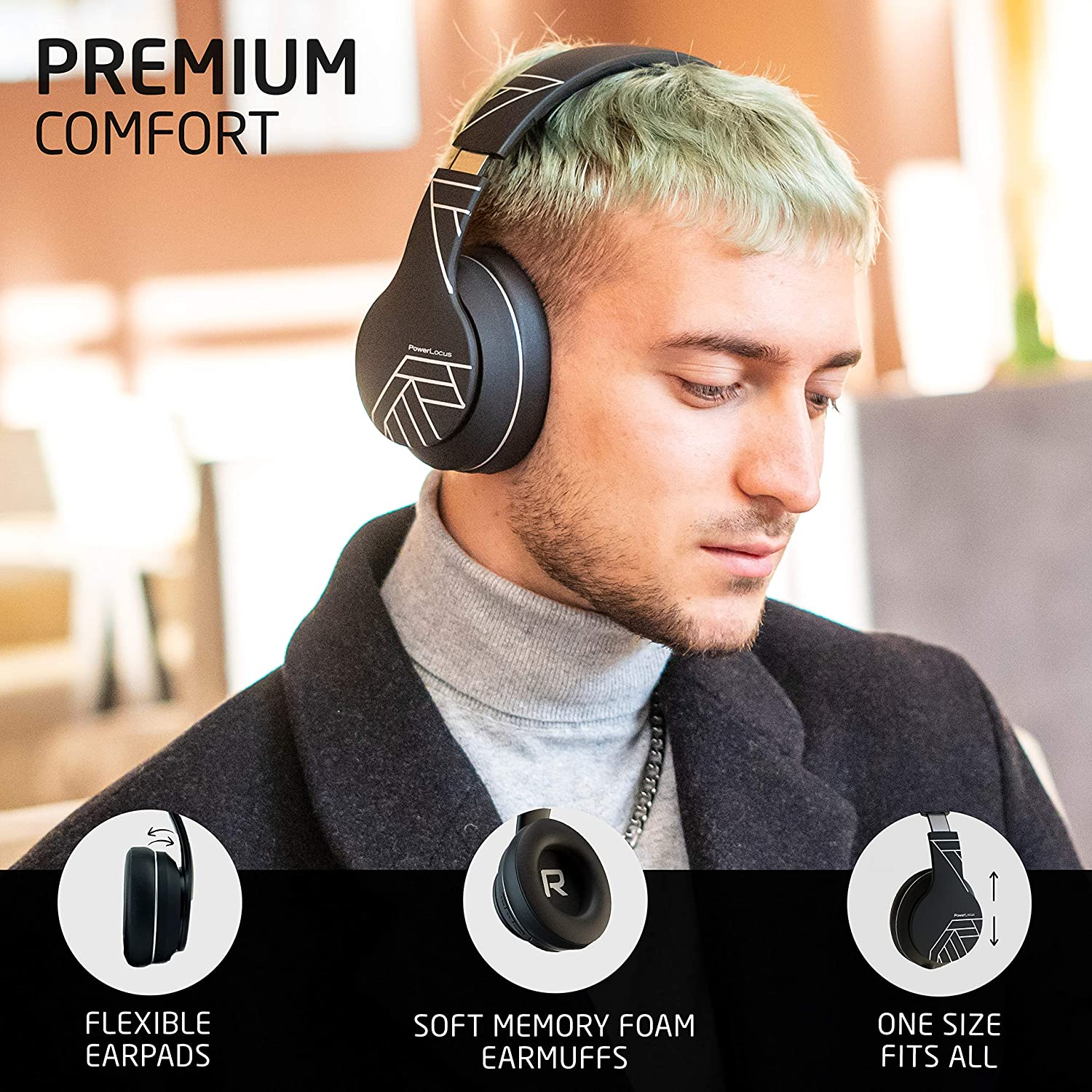 PowerLocus P6 Bluetooth Headphones Over Ear