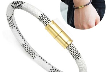Stripe Leather Gold Magnet Bracelets