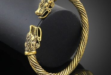 Men Wristband Cuff Wolf Head Viking Bracelet