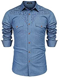 COOFANDY Mens Cowboy Shirts