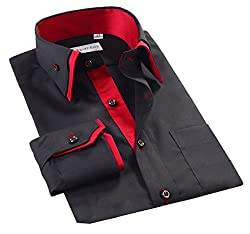 Lyon Becker® Mens Casual Double Collar Slim Fit Formal Shirt