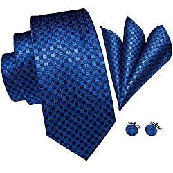Tie Jacquard Woven Silk Tie Pocket Square and Cufflinks Set