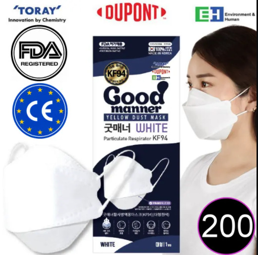 Good Manner Mask KF94 with FDA and CE Approval White 200pcs