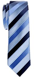 Retreez Three-Colour Stripe Woven Microfiber Skinny Tie