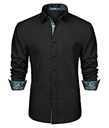 HISDERN Men's Inner Contrast Shirt Casual Formal Classic