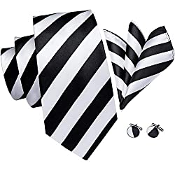 Striped Tie, Hi-Tie Tie Stripes Pattern Handkerchief Cufflinks Set