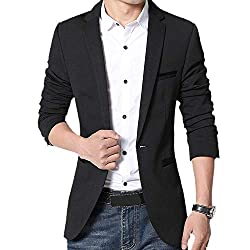Gopune Men's Slim Fit Casual One Button Suits Coat Solid Blazer