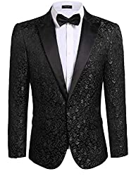 JINIDU Men's Floral Party Dress Suit Stylish Dinner Jacket